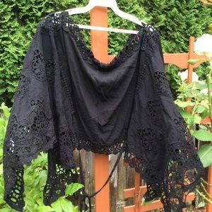 Patricia Luca black lace cape cover accessory NEW